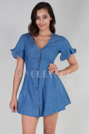 Ruffle Short Sleeve Button Down Dress