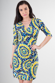 3/4 Sleeve Tie-Die Mini Dress