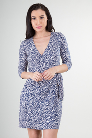 3/4 Sleeve Print Dress With Tie-Up at Wast