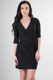 V-Neck 3/4 Sleeve Wrap Mini Dress