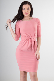 Boat Neckline 3/4 Sleeve With Tie-Up at Waist Mini Dress
