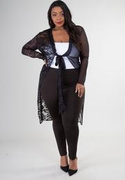Half mesh and half lace tied cardigan