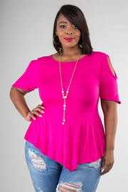 Plus Size Round Neckline Cut-out Short Sleeve With Necklace Detail