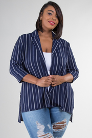 Plus Size Stripe 3/4 Sleeve Blazer