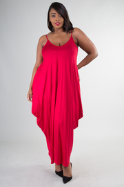 Plus Size V-neck Cami Maxi Dress With Side Pockets