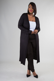 Plus Size Long Sleeve Long Cardigan