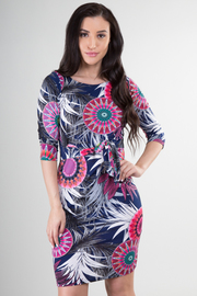 3/4 Sleeve Abstract Fitted Dress