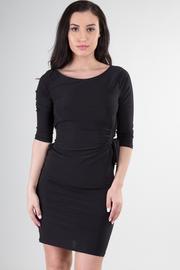 Bateau Neckline 3/4 Sleeve Mini Dress