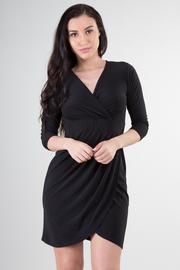 V-Neck 3/4 Sleeve Overlap Mini Dress