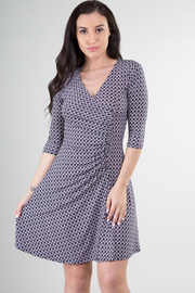 V-Neck 3/4 Sleeve Dress With Ruched Detail