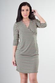 3/4 Sleeve V-Neck Print Mini Dress