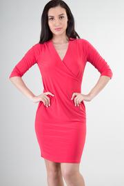 3/4 Sleeve V-Neck Mini Dress