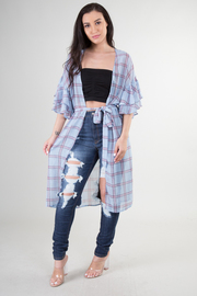 WINDOW PANE PLAID CARDIGAN WITH RUFFLE SLEEVE