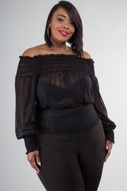 OFF SHOULDER LONG SLEEVE SEE-THROUGH TOP