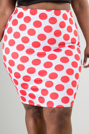 POLKA DOT PRINT PENCIL SKIRT