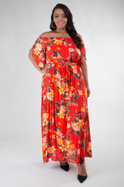 Plus Size Straight Neckline Off The Shoulder Floral With Belt Long Maxi Dress