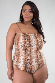 Plus Size Spaghetti Strap Low Back Snake Print Bodysuit