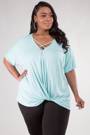Plus Size Short Sleeve Crisscross Accent At Neckline Knot Detail At Bottom Hem Top