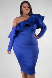 Plus Size Ruffle Neckline One Shoulder Long Sleeve Fitted Dress