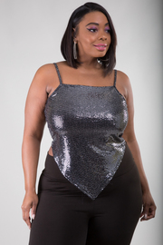 Plus Size Sequin Spaghetti Strap Top