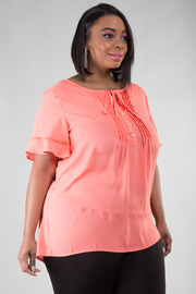 Plus Size Flounce Short Sleeve Top With Pleat Detail At Neckline
