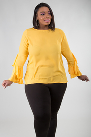 Plus Size High Round Neckline Top With Long Layered Sleeves