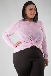 Plus Size Long Sleeve Top Knot Detail at Waist