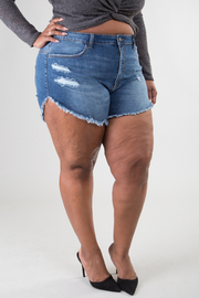 Plus Size Fray Hem Denim Shorts