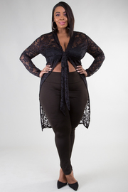 LACED FRONT TIE SEE THROUGH CARDIGAN