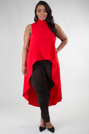 MOCK NECK SLEEVELESS HIGH LOW SOLID TOP