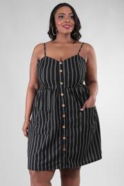 Plus Size Spaghetti Strap Button Down Dress With Pockets