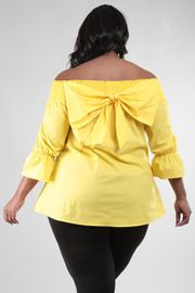 OFF SHOULDER 3/4 SLEEVE TOP WITH A BIG BOW DETAIL ON BACK