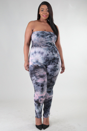Plus Size Strapless Tie Dye Tube Sexy Jumpsuit