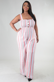 Plus Size Wide Strap Ruched Torso Button Detail Jumpsuit