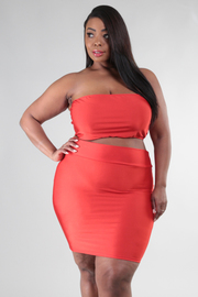 Plus Size Tube Top and Fitted Mini Skirt Set