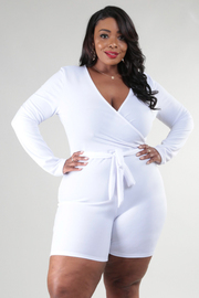 Plus Size Deep V-Neckline Long Sleeve Romper With Waist Tie