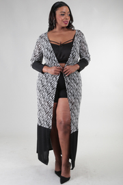 Zebra print with solid combo cardigan