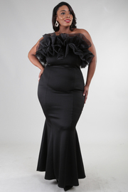 PLUS SIZE RUFFLED FRONT AND BACK MERMAID SOLID MAXI DRESS