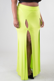 PLUS SIZE Two front slits solid maxi skirt