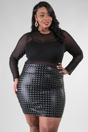 PLUS SIZE Round neck long sleeve mesh and shiny square pattern fabric combo dress