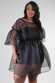 PLUS SIZE Boat neck 3/4 sleeve see-through fluffy out side dress with inside fitted dress.