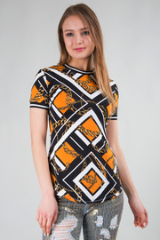 ROUND NECK SHORT SLEEVE GEOMETRIC PATTERN TOP