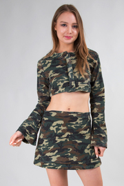 DENIM ARMY CROP TOP AND MINI SKIRT SET
