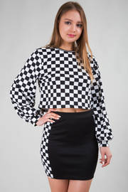 LONG SLEEVE GRID CROP TOP AND SOLID MINI SKIRT