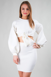 LONG PUFF SLEEVE BOW TIE  CROP TOP AND MINI SKIRT