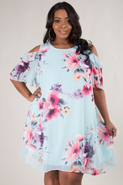 Plus Size Cold Shoulder Floral Dress