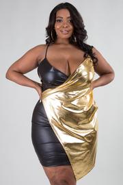 PLUS SIZE SPAGHETTIE TIE DETAIL GOLD BLACK MINI DRESS