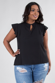 PLUS SIZE SHORT SLEEVE TIE BACK RUFFLED TOP