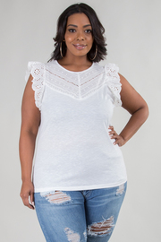 PLUS SIZE ROUND NECK SLEEVELESS SOLID LACED TOP
