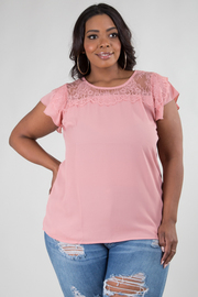 PLUS SIZE ROUND NECK SHORT SLEEVE LACE DETAIL TOP